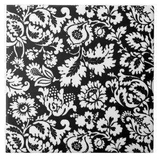 Azulejo De Cerámica Damasco floral de William Morris, blanco y negro