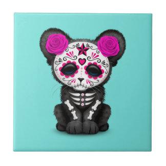 Azulejo De Cerámica Día rosado de la pantera negra muerta Cub