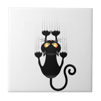 Azulejo De Cerámica Dibujo animado divertido del gato negro que rasguñ