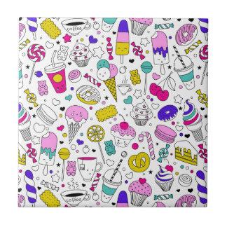 Azulejo De Cerámica Dibujo animado dulce del bosquejo de la diversión