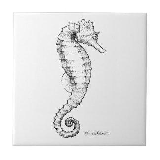 Azulejo De Cerámica Dibujo blanco y negro del Seahorse