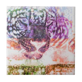 Azulejo De Cerámica Diseño del gato de Jaguar del arco iris