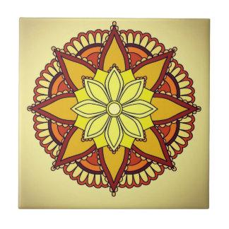 Azulejo De Cerámica Diseño floral amarillo-naranja