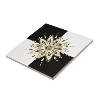 Azulejo De Cerámica Diseño geométrico del oro negro y de la mandala