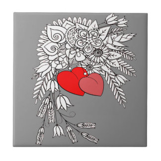 Azulejo De Cerámica Dos corazones 2