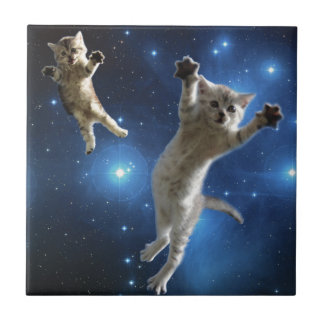 Azulejo De Cerámica Dos gatos del espacio que flotan alrededor de