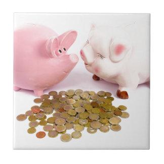 Azulejo De Cerámica Dos huchas con las monedas euro en blanco