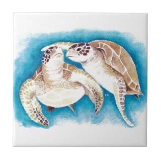 Azulejo De Cerámica Dos tortugas de mar