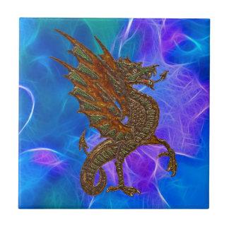 Azulejo De Cerámica Dragón céltico Galés en oro en azules II