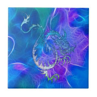 Azulejo De Cerámica Dragón chino en azules IV