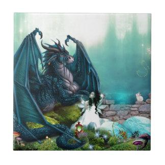Azulejo De Cerámica Dragón y hada de la fantasía