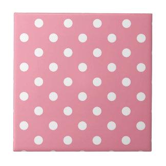 Azulejo De Cerámica El diseño puntea blanco en el dulce rosado