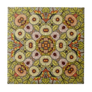 Azulejo De Cerámica El ejemplo del vintage florece el modelo de