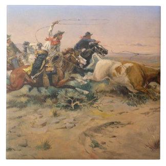 Azulejo De Cerámica El Quitter de la manada de Charles Marion Russell