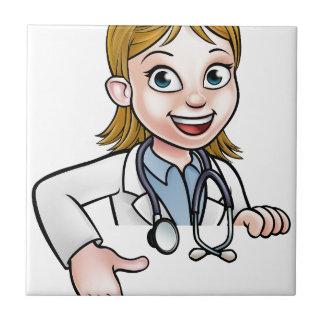 Azulejo De Cerámica El señalar del doctor personaje de dibujos