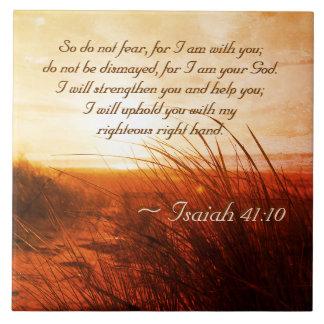 Azulejo De Cerámica El verso de la biblia del 41:10 de Isaías no teme