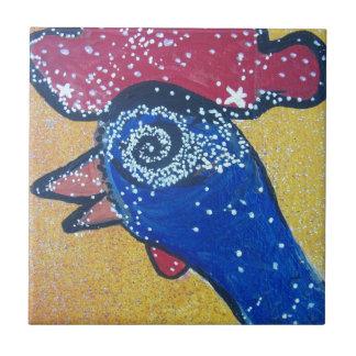 Azulejo De Cerámica El viajar a la galaxia de la cabeza del pollo