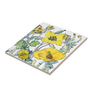 Azulejo De Cerámica El Wildflower botánico de la amapola del vintage