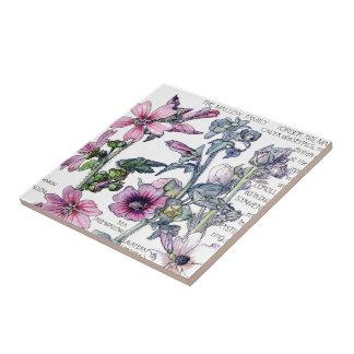 Azulejo De Cerámica El Wildflower botánico de la malva del vintage