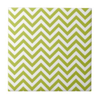 Azulejo De Cerámica El zigzag verde y blanco raya el modelo de Chevron