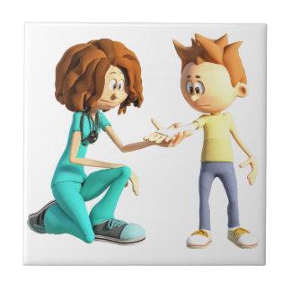 Azulejo De Cerámica Enfermera y Little Boy del dibujo animado