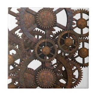 Azulejo De Cerámica Engranajes oxidados del metal de Steampunk