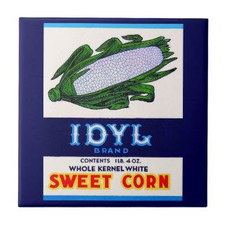 Azulejo De Cerámica etiqueta del maíz dulce de Idyl de los años 30
