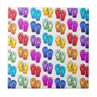Azulejo De Cerámica Flips-flopes del arco iris