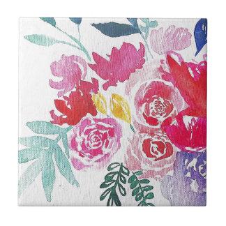 Azulejo De Cerámica Flores de la acuarela