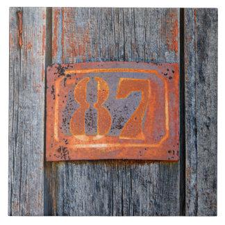 Azulejo De Cerámica Foto metalizado oxidada de no. 87 del número de