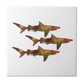 Azulejo De Cerámica Frenesí del tiburón