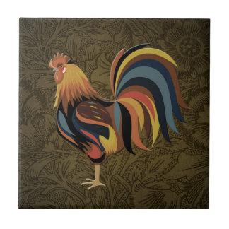 Azulejo De Cerámica Gallo grande en el arte del rancho de Deco de la
