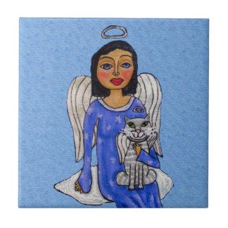 Azulejo De Cerámica Gato blanco del ángel de los ojos azules del ángel