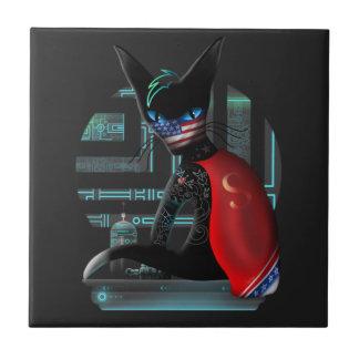 Azulejo De Cerámica Gato de Ninja del Cyberpunk