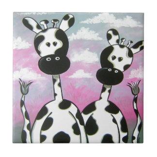 Azulejo De Cerámica Giraffees dos Zazzle
