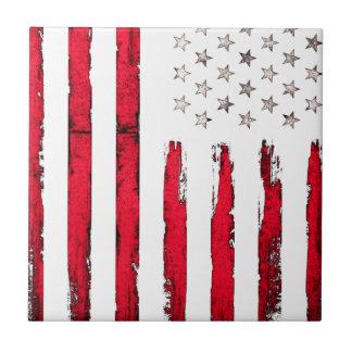 Azulejo De Cerámica Grunge del rojo de la bandera americana