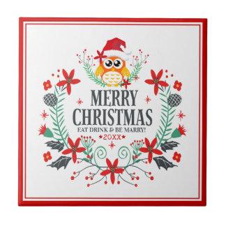 Azulejo De Cerámica Guirnalda del búho del navidad de la tipografía de