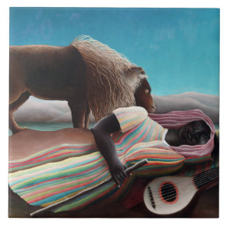 Azulejo De Cerámica Henri Rousseau el vintage gitano el dormir