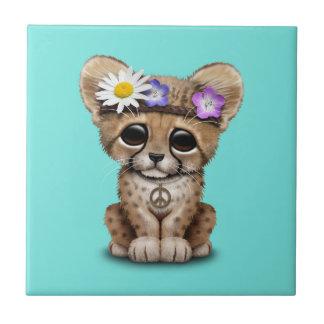 Azulejo De Cerámica Hippie lindo de Cub del guepardo