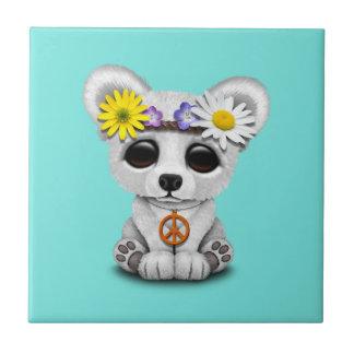 Azulejo De Cerámica Hippie lindo de Cub del oso polar del bebé
