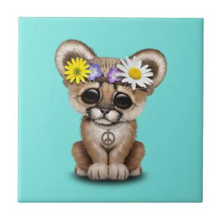 Azulejo De Cerámica Hippie lindo de Cub del puma