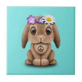Azulejo De Cerámica Hippie lindo del conejito del bebé