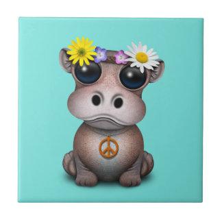 Azulejo De Cerámica Hippie lindo del hipopótamo del bebé