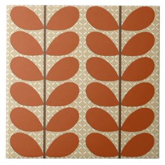 Azulejo De Cerámica Hojas de los mediados de siglo, moho Brown y beige