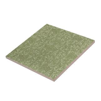 Azulejo De Cerámica Hojas del biloba del Ginkgo en verde salvia