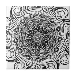 Azulejo De Cerámica Ilusión óptica del Doodle adornado del zen blanco