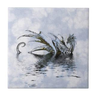 Azulejo De Cerámica Ilustracion azul del dragón en nubes y agua
