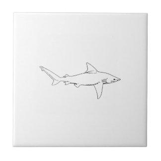Azulejo De Cerámica Ilustracion del tiburón de banco de arena (línea