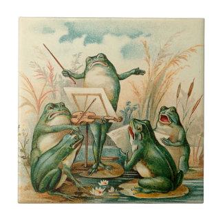 Azulejo De Cerámica Ilustracion del vintage de la orquesta de la rana