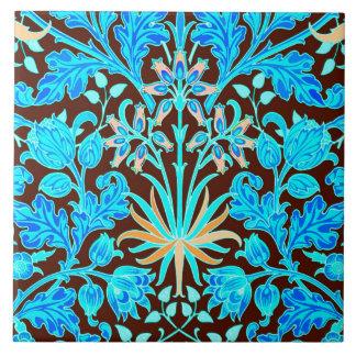 Azulejo De Cerámica Impresión, aguamarina y Brown del jacinto de